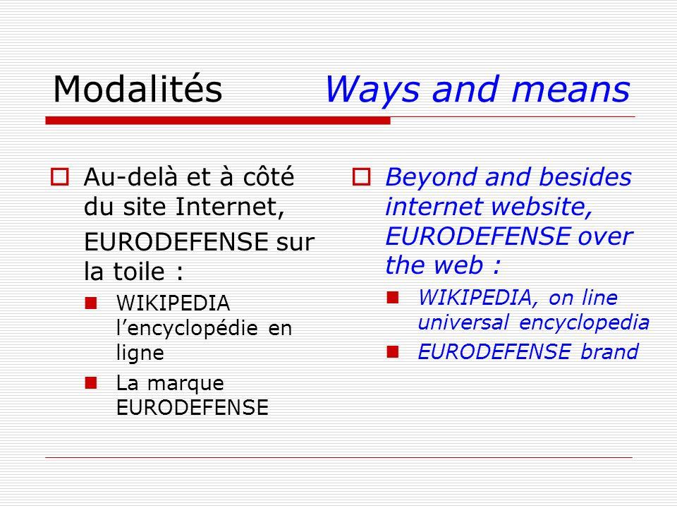 ModalitésWays and means Au-delà et à côté du site Internet, EURODEFENSE sur la toile : WIKIPEDIA lencyclopédie en ligne La marque EURODEFENSE Beyond a
