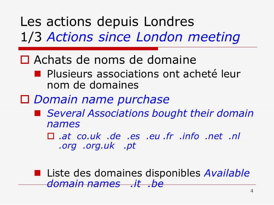 4 Les actions depuis Londres 1/3 Actions since London meeting Achats de noms de domaine Plusieurs associations ont acheté leur nom de domaines Domain