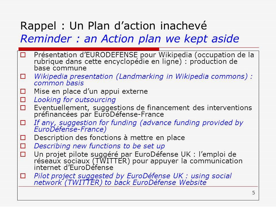 5 Rappel : Un Plan daction inachevé Reminder : an Action plan we kept aside Présentation dEURODEFENSE pour Wikipedia (occupation de la rubrique dans c