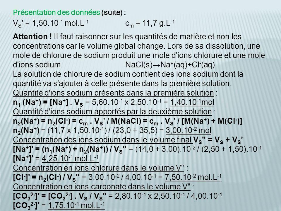 Présentation des données (suite) : V S ' = 1,50.10 -1 mol.L -1 c m = 11,7 g.L -1 Attention ! Il faut raisonner sur les quantités de matière et non les
