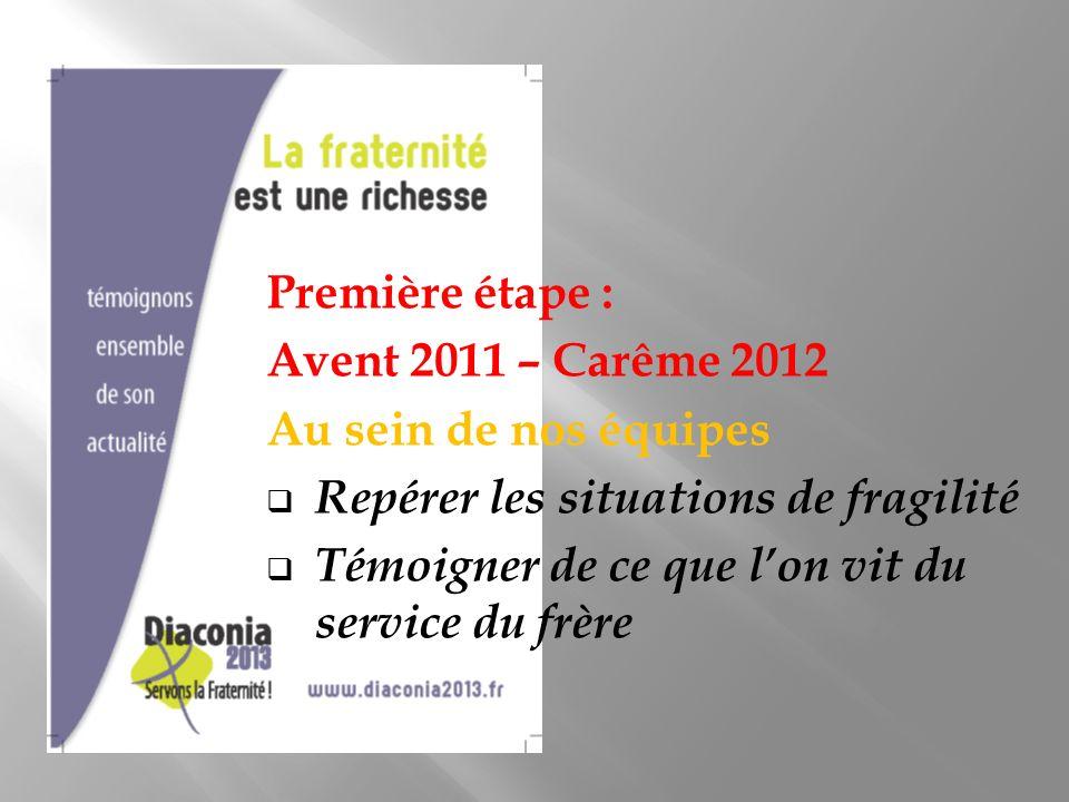 Première étape : Avent 2011 – Carême 2012 Au sein de nos équipes Repérer les situations de fragilité Témoigner de ce que lon vit du service du frère