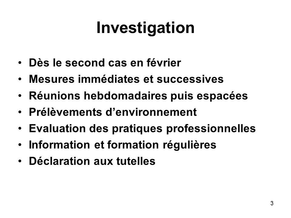 3 Investigation Dès le second cas en février Mesures immédiates et successives Réunions hebdomadaires puis espacées Prélèvements denvironnement Evalua