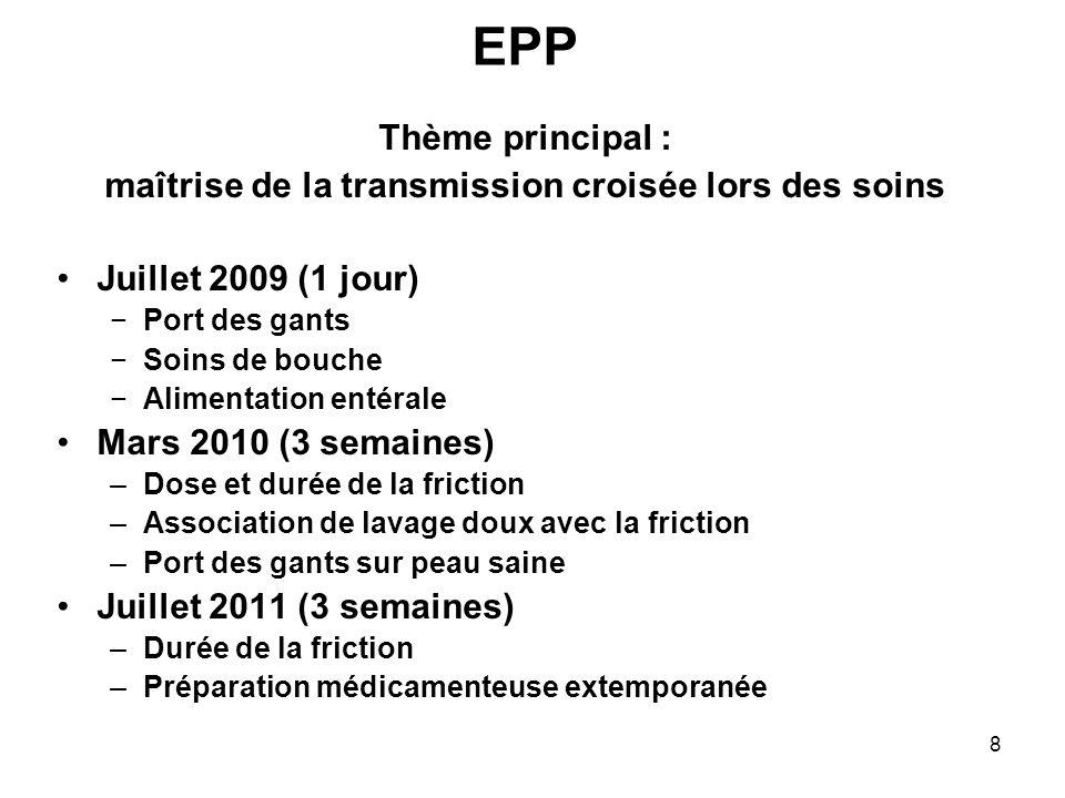 8 EPP Thème principal : maîtrise de la transmission croisée lors des soins Juillet 2009 (1 jour) Port des gants Soins de bouche Alimentation entérale