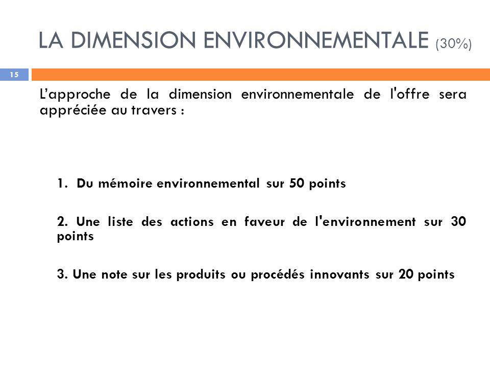 LA DIMENSION ENVIRONNEMENTALE (30%) Lapproche de la dimension environnementale de l offre sera appréciée au travers : 1.