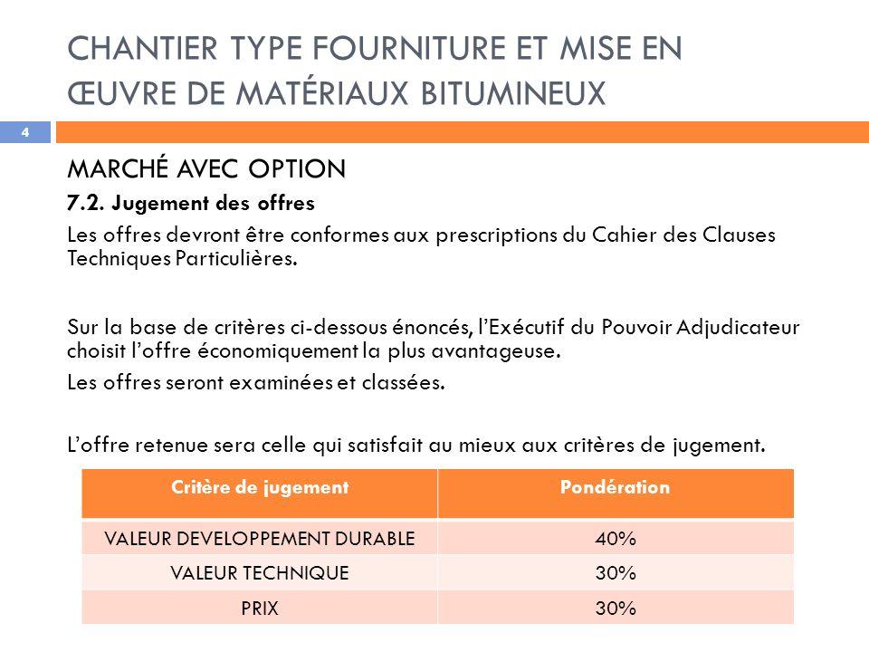 CHANTIER TYPE FOURNITURE ET MISE EN ŒUVRE DE MATÉRIAUX BITUMINEUX 4 MARCHÉ AVEC OPTION 7.2.