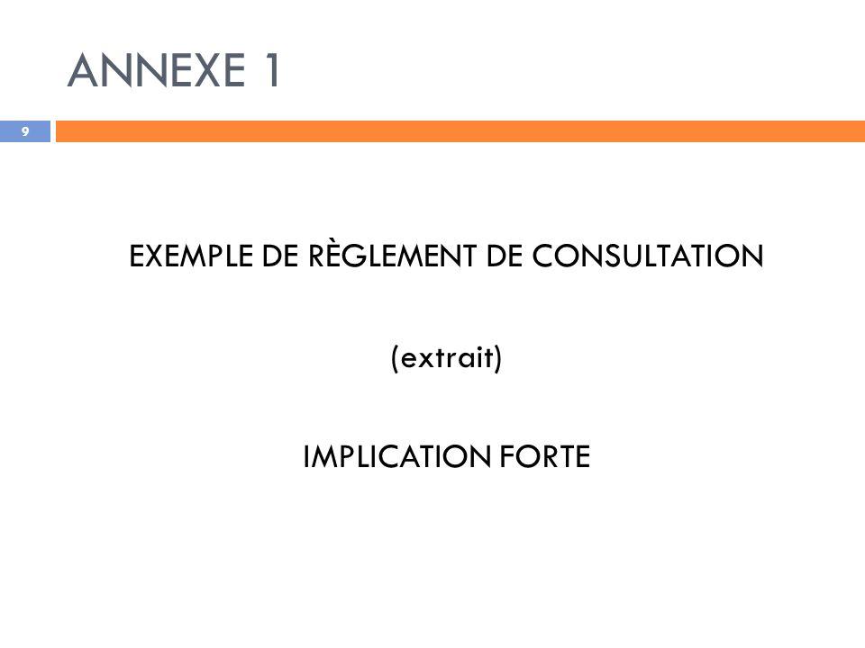 ANNEXE 1 EXEMPLE DE RÈGLEMENT DE CONSULTATION (extrait) IMPLICATION FORTE 9