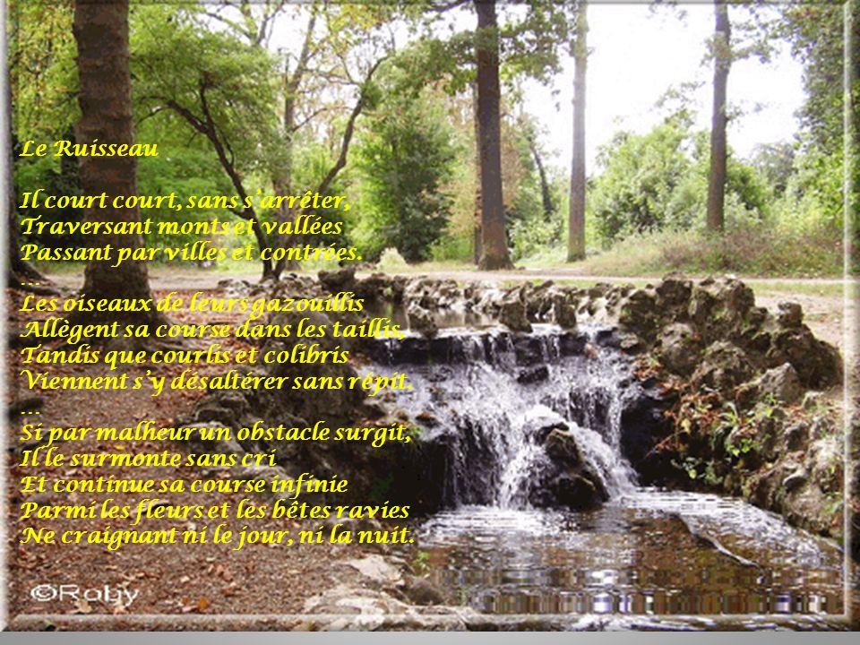 Le Ruisseau Il court court, sans sarrêter, Traversant monts et vallées Passant par villes et contrées. … Les oiseaux de leurs gazouillis Allègent sa c