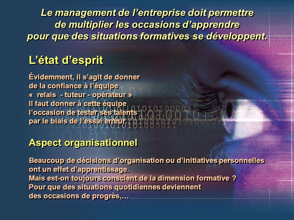 Le management de lentreprise doit permettre de multiplier les occasions dapprendre pour que des situations formatives se développent. Le management de