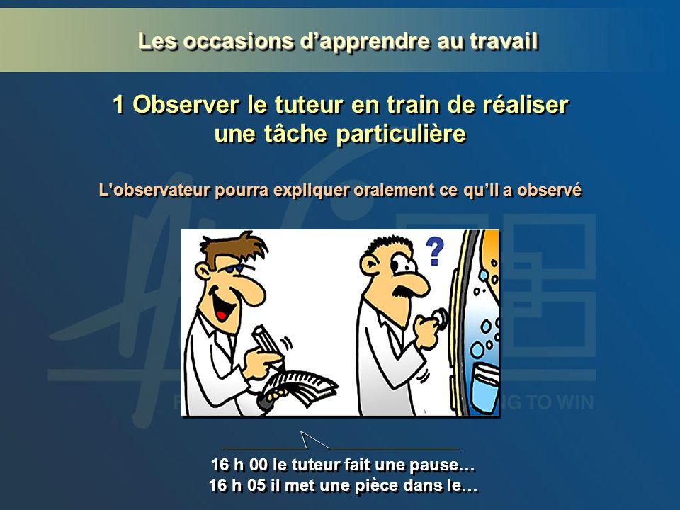 1 Observer le tuteur en train de réaliser une tâche particulière 16 h 00 le tuteur fait une pause… 16 h 05 il met une pièce dans le… 16 h 00 le tuteur