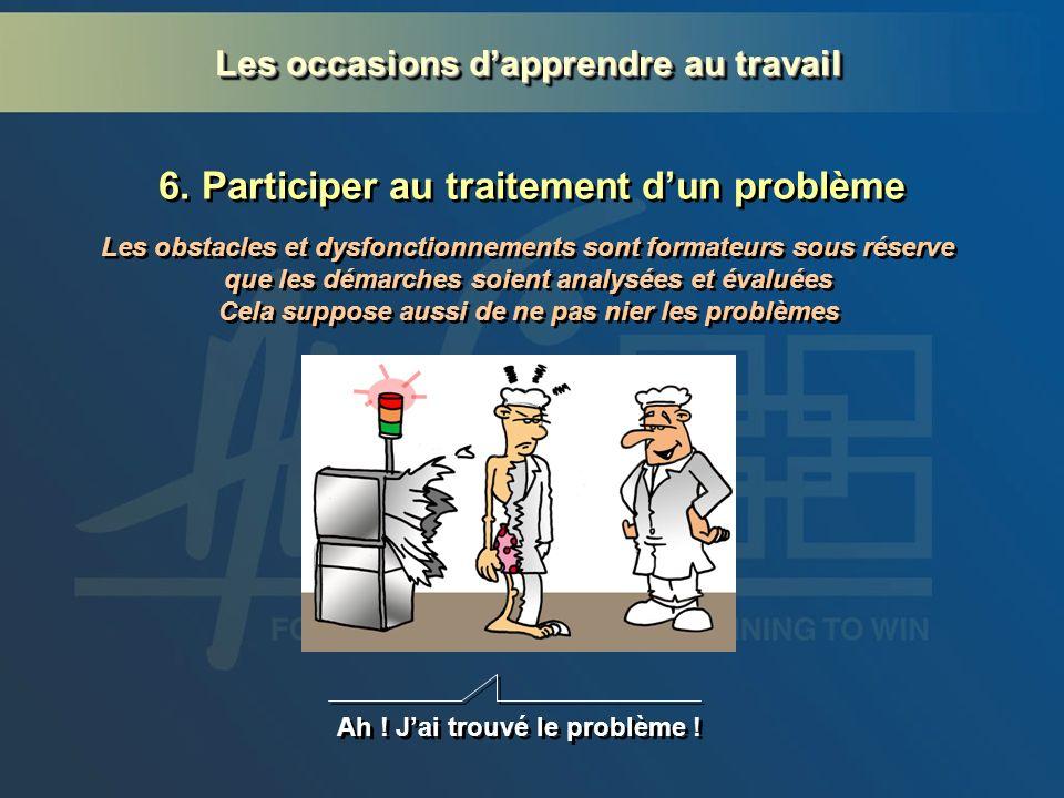 6. Participer au traitement dun problème Ah ! Jai trouvé le problème ! Les obstacles et dysfonctionnements sont formateurs sous réserve que les démarc