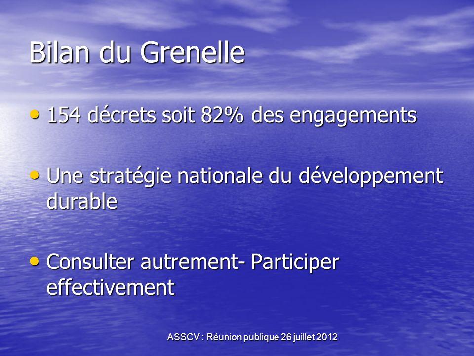 ASSCV : Réunion publique 26 juillet 2012 Grenelle II Instaurer les outils dune démocratie écologique Instaurer les outils dune démocratie écologique D