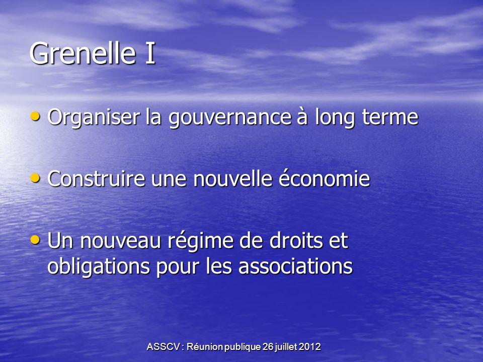 ASSCV : Réunion publique 26 juillet 2012 Grenelle de lenvironnement Grenelle 2007:6 groupes de travail réunissant lEtat,les entreprises et les associa