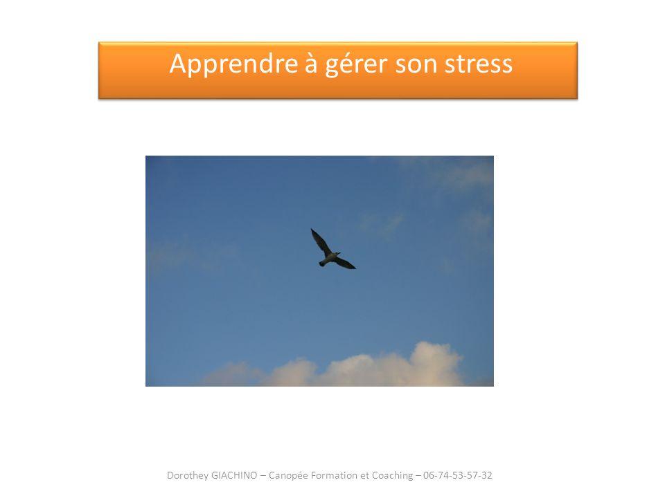 Apprendre à gérer son stress Dorothey GIACHINO – Canopée Formation et Coaching – 06-74-53-57-32