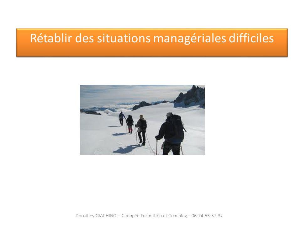 Rétablir des situations managériales difficiles Dorothey GIACHINO – Canopée Formation et Coaching – 06-74-53-57-32