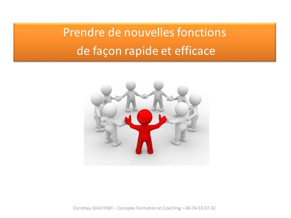 Prendre de nouvelles fonctions de façon rapide et efficace Prendre de nouvelles fonctions de façon rapide et efficace Dorothey GIACHINO – Canopée Form