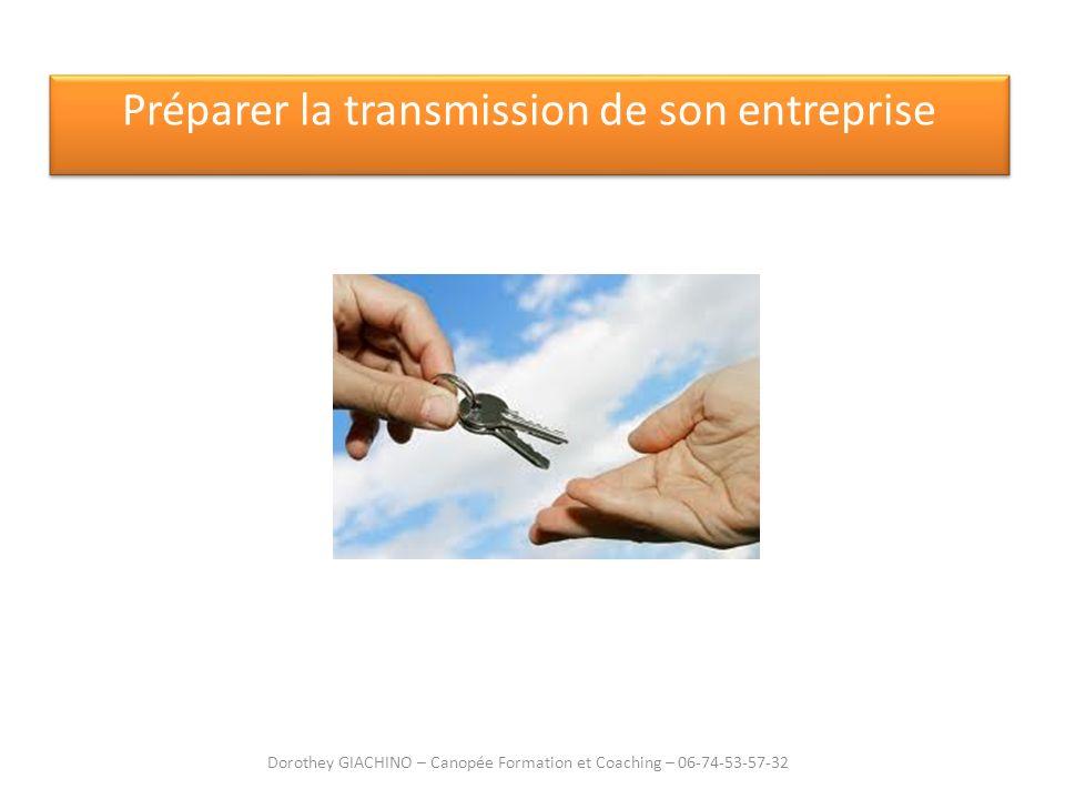Préparer la transmission de son entreprise Dorothey GIACHINO – Canopée Formation et Coaching – 06-74-53-57-32