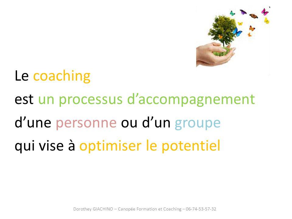 Le coaching est un processus daccompagnement dune personne ou dun groupe qui vise à optimiser le potentiel Dorothey GIACHINO – Canopée Formation et Co
