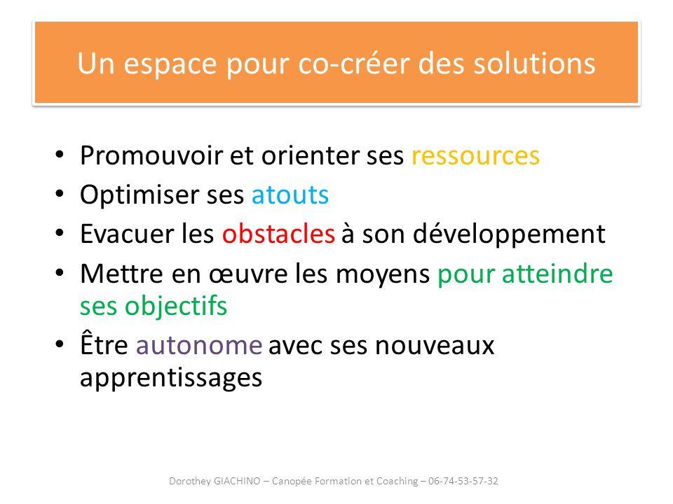 Un espace pour co-créer des solutions Promouvoir et orienter ses ressources Optimiser ses atouts Evacuer les obstacles à son développement Mettre en œ
