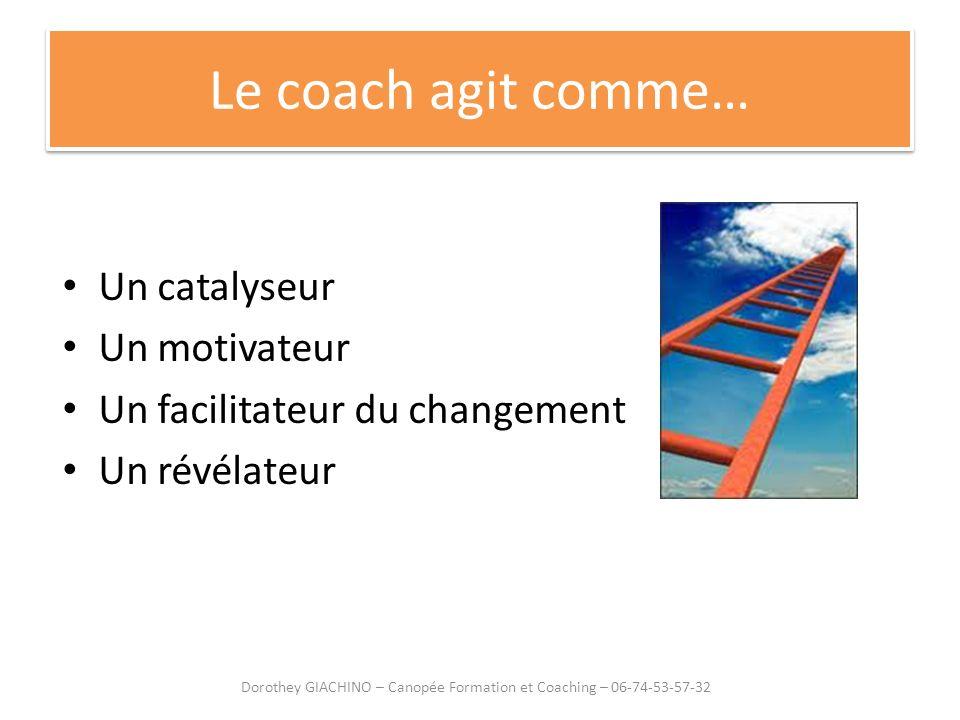 Le coach agit comme… Un catalyseur Un motivateur Un facilitateur du changement Un révélateur Dorothey GIACHINO – Canopée Formation et Coaching – 06-74