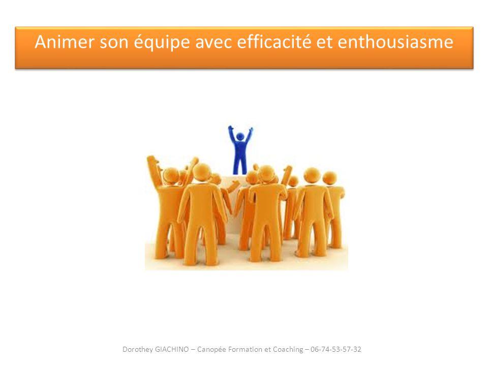 Animer son équipe avec efficacité et enthousiasme Dorothey GIACHINO – Canopée Formation et Coaching – 06-74-53-57-32