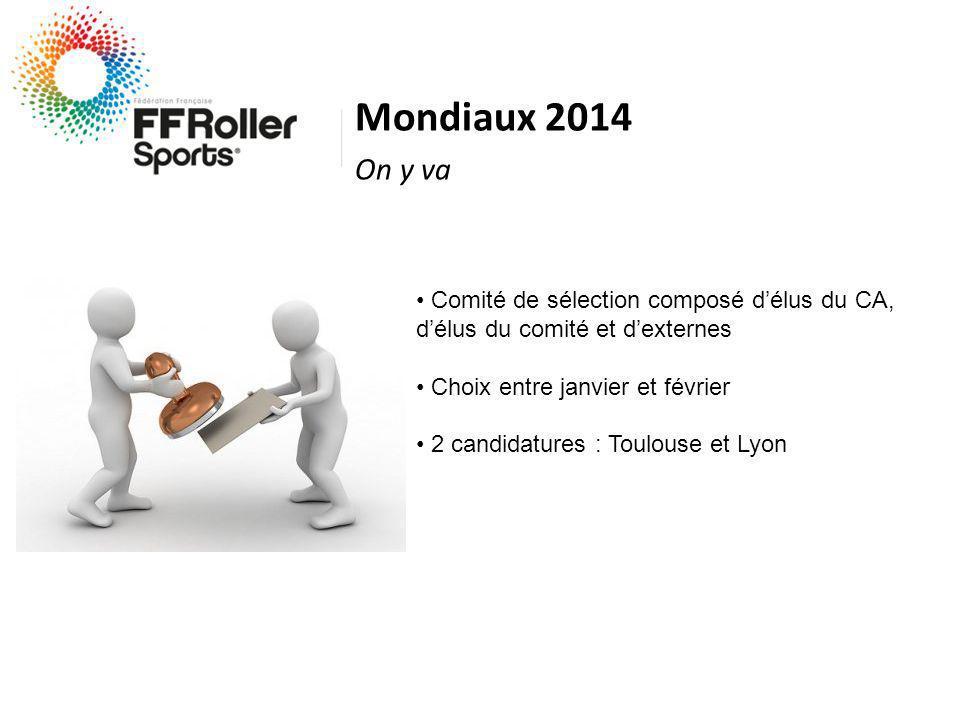 Mondiaux 2014 On y va Comité de sélection composé délus du CA, délus du comité et dexternes Choix entre janvier et février 2 candidatures : Toulouse et Lyon