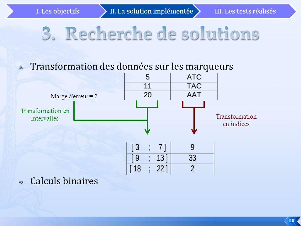 Transformation des données sur les marqueurs Calculs binaires Marge d'erreur = 2 Transformation en indices Transformation en intervalles 10 I. Les obj
