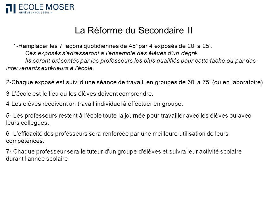 La Réforme du Secondaire II 1-Remplacer les 7 leçons quotidiennes de 45 par 4 exposés de 20 à 25'. Ces exposés sadresseront à lensemble des élèves dun