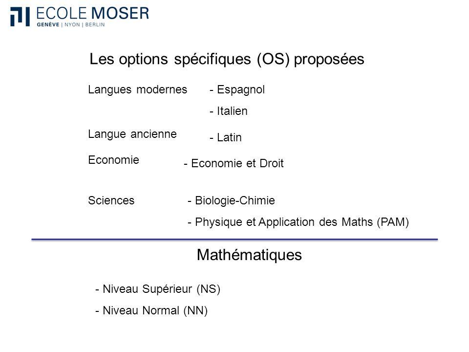 Les options spécifiques (OS) proposées - Espagnol - Italien Sciences Langues modernes Economie - Economie et Droit - Biologie-Chimie - Physique et App