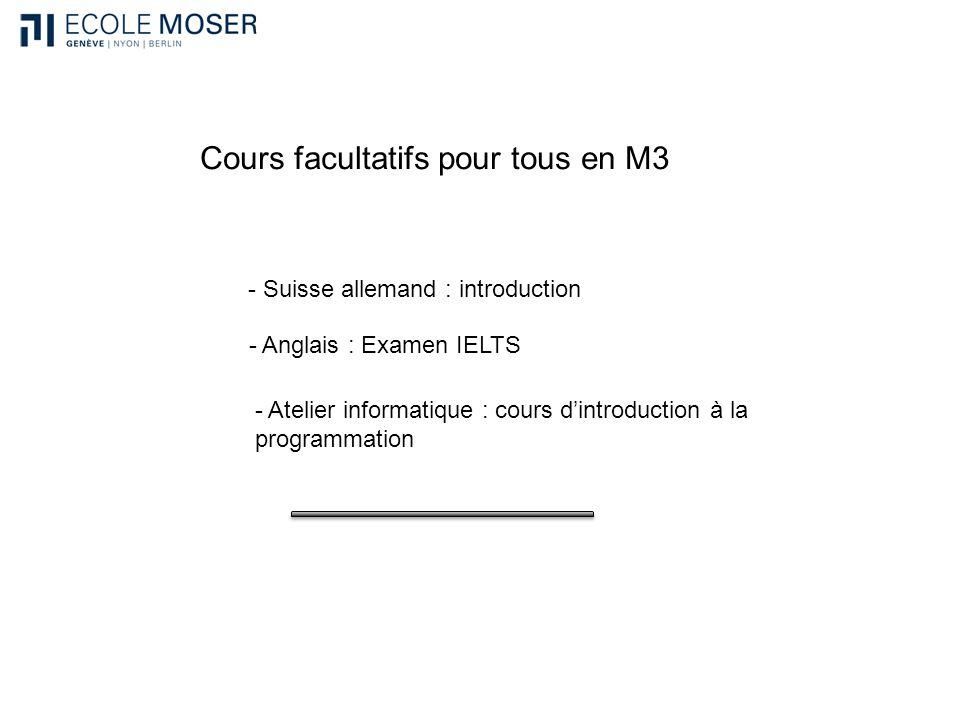 Cours facultatifs pour tous en M3 - Suisse allemand : introduction - Anglais : Examen IELTS - Atelier informatique : cours dintroduction à la programm