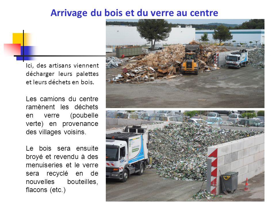Voici laire de vidage, cest à cet endroit que les camions déchargent les déchets triés des poubelles jaunes (bouteilles et flacons en plastiques, briques alimentaires, emballages en carton, boîtes de conserve et canettes) et bleues (papiers) dans 6 cases.