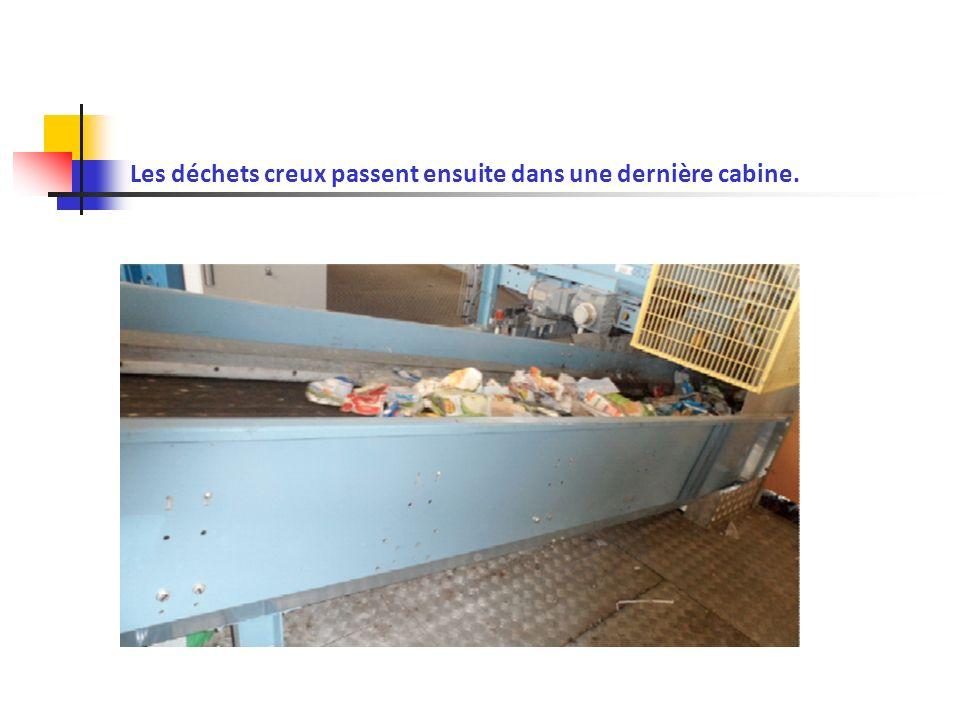 Les déchets creux passent ensuite dans une dernière cabine.