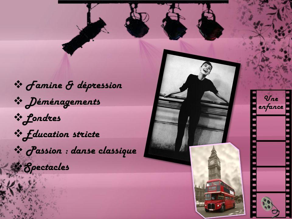 Une enfance Famine & dépression Déménagements Londres Education stricte Passion : danse classique Spectacles