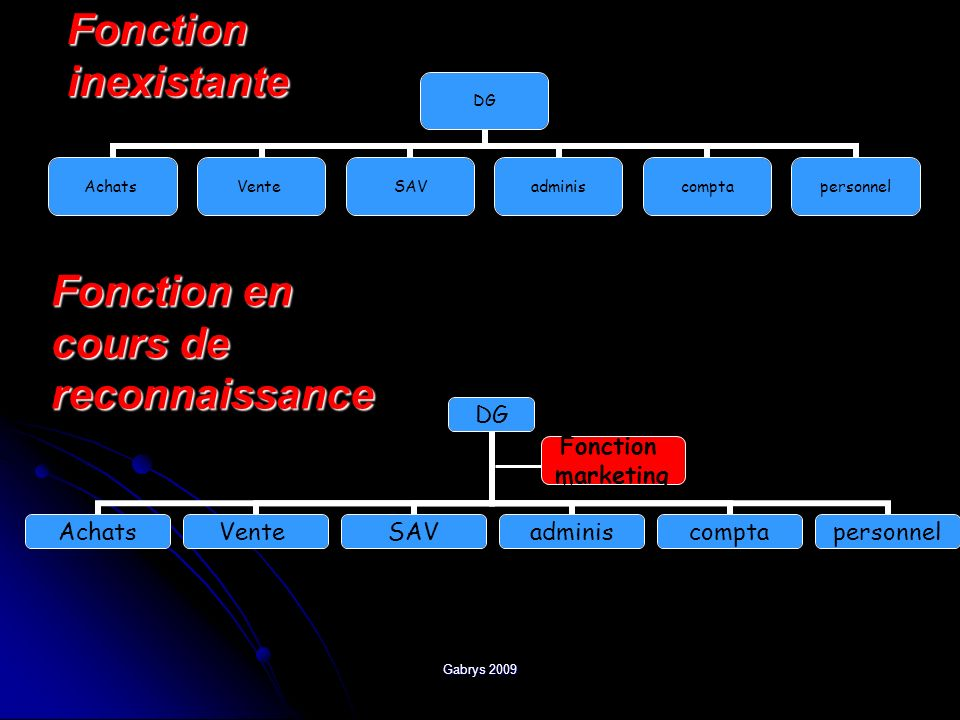 Gabrys 2009 Fonction inexistante DG AchatsVenteSAVadminiscomptapersonnel Fonction en cours de reconnaissance DG AchatsVenteSAVadminiscomptapersonnel F