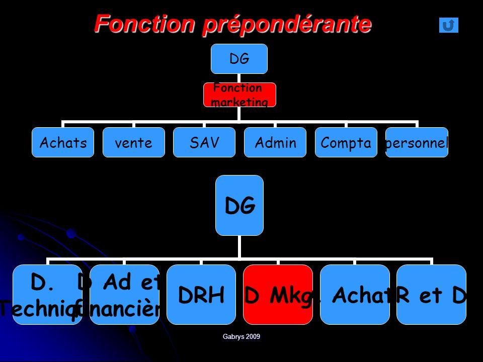 Gabrys 2009 DG AchatsventeSAVAdminComptapersonnel Fonction marketing Fonction prépondérante DG D. Technique D Ad et financière DRHD MkgA AchatsR et D