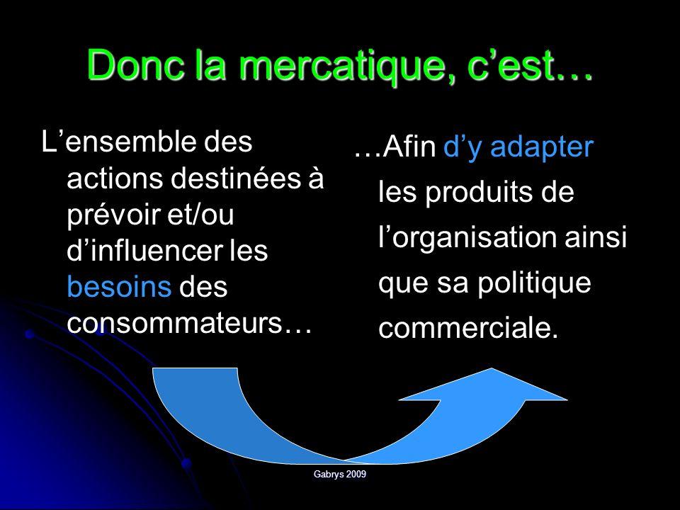 Gabrys 2009 Donc la mercatique, cest… Lensemble des actions destinées à prévoir et/ou dinfluencer les besoins des consommateurs… …Afin dy adapter les