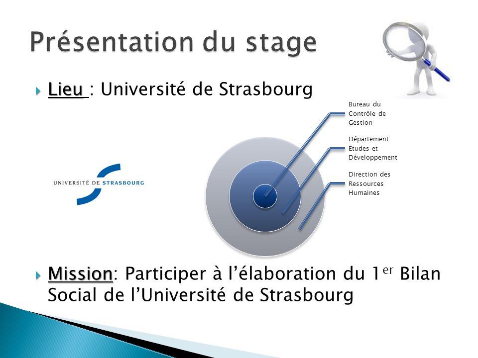 Lieu Lieu : Université de Strasbourg Mission Mission: Participer à lélaboration du 1 er Bilan Social de lUniversité de Strasbourg Bureau du Contrôle de Gestion Département Etudes et Développement Direction des Ressources Humaines
