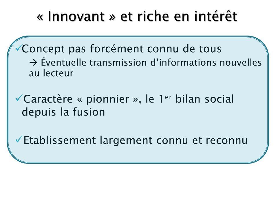 « Innovant » et riche en intérêt Concept pas forcément connu de tous Éventuelle transmission dinformations nouvelles au lecteur Caractère « pionnier »