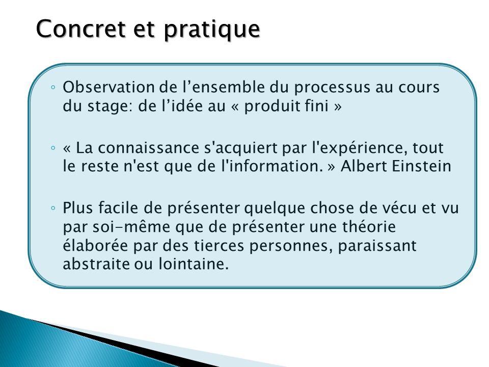 Concret et pratique Observation de lensemble du processus au cours du stage: de lidée au « produit fini » « La connaissance s acquiert par l expérience, tout le reste n est que de l information.