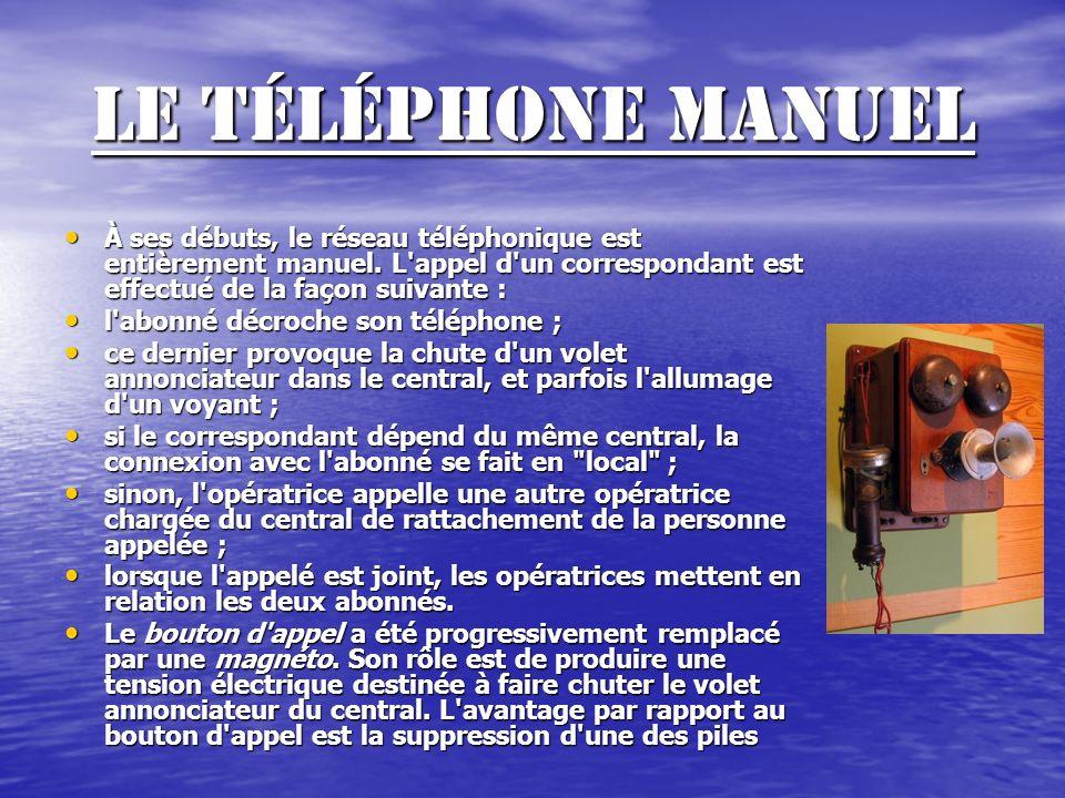 Le téléphone manuel À ses débuts, le réseau téléphonique est entièrement manuel.