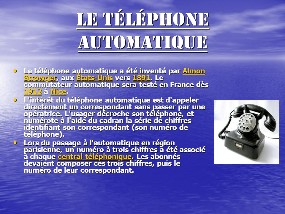 Le téléphone fixe Le téléphone se compose historiquement de 2 blocs : Le téléphone se compose historiquement de 2 blocs : Un boîtier contenant les organes de transmission de la parole, très souvent un système de sonnerie pour signaler un appel permettant un dialogue avec le central téléphonique..