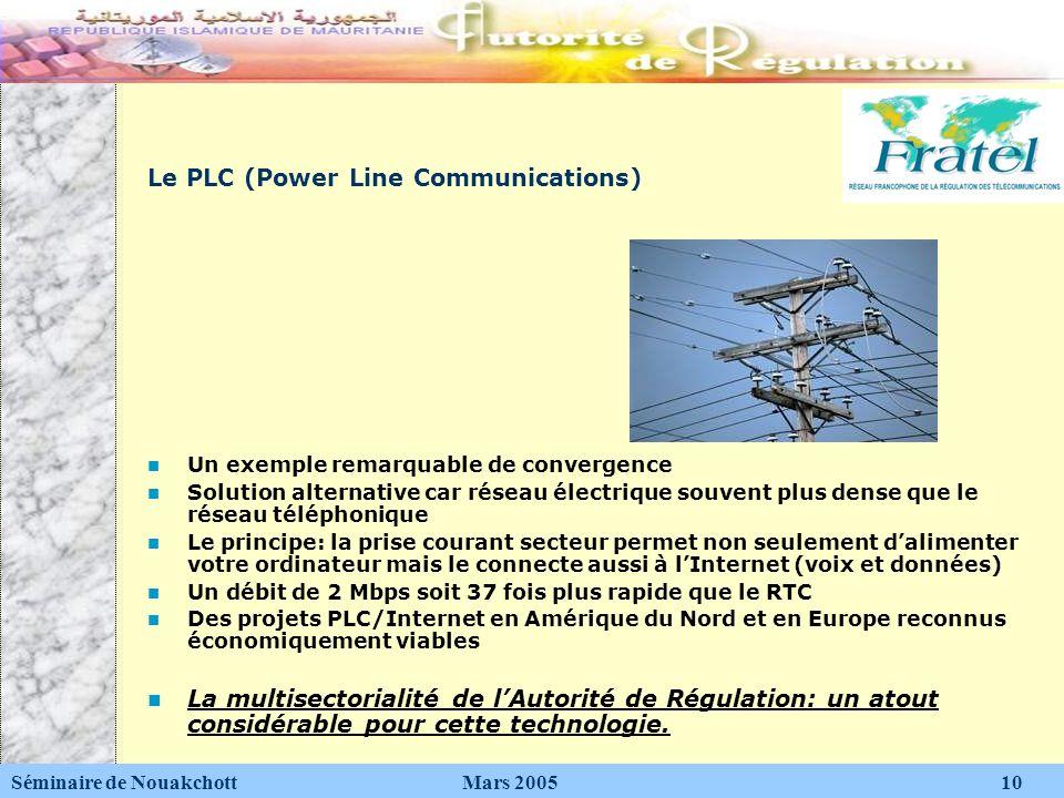 Le PLC (Power Line Communications) Un exemple remarquable de convergence Solution alternative car réseau électrique souvent plus dense que le réseau t