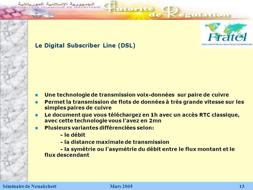 Le Digital Subscriber Line (DSL) Une technologie de transmission voix-données sur paire de cuivre Permet la transmission de flots de données à très gr