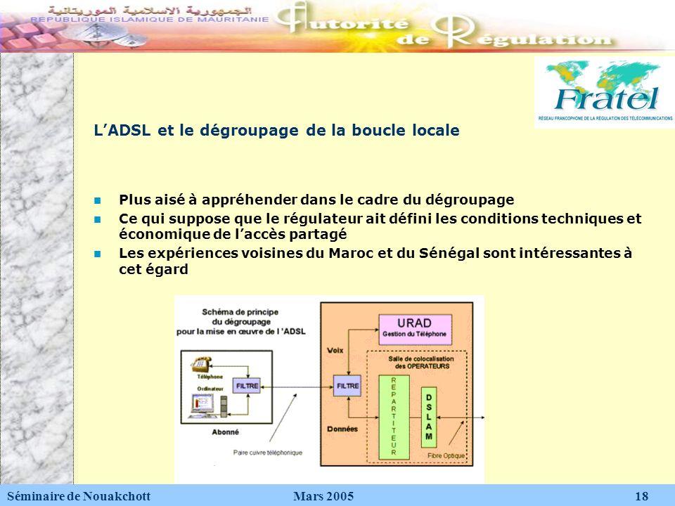 LADSL et le dégroupage de la boucle locale Plus aisé à appréhender dans le cadre du dégroupage Ce qui suppose que le régulateur ait défini les conditi
