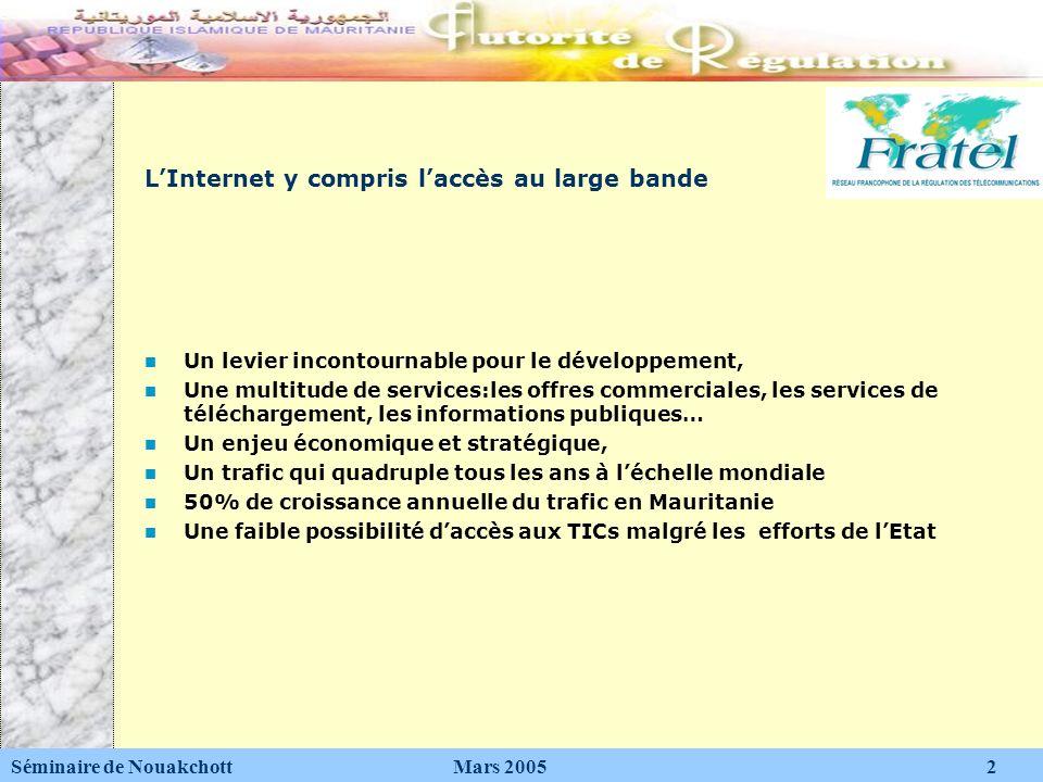 Le DAI : Digital Access Indice Séminaire de Nouakchott Mars 2005 3 Un outil de mesure pour laccès aux TICs Il intègre: - linfrastructure: télédensité -laccessibilité économique: coût de laccès -le cyber-espace (e-éducation, e-formation, e-gouvernance…) -la bande passante Internet accessible -lutilisation de lInternet