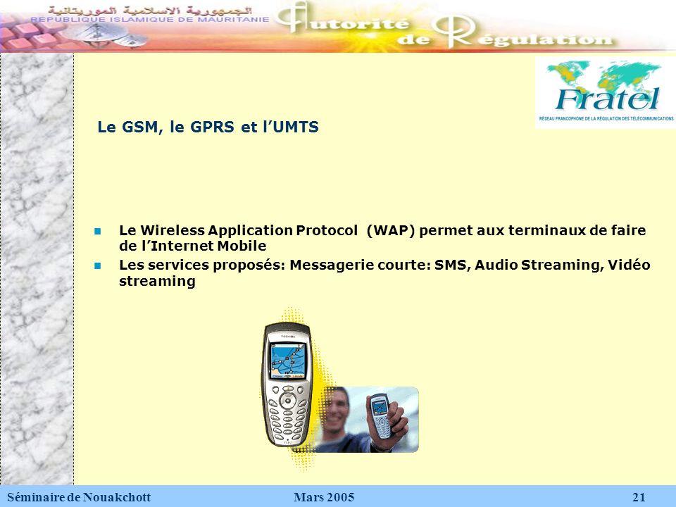 Le GSM, le GPRS et lUMTS Le Wireless Application Protocol (WAP) permet aux terminaux de faire de lInternet Mobile Les services proposés: Messagerie co