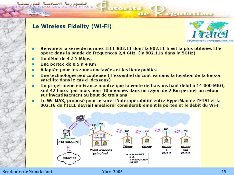 Le Wireless Fidelity (Wi-Fi) Renvoie à la série de normes IEEE 802.11 dont la 802.11 b est la plus utilisée. Elle opère dans la bande de fréquences 2,