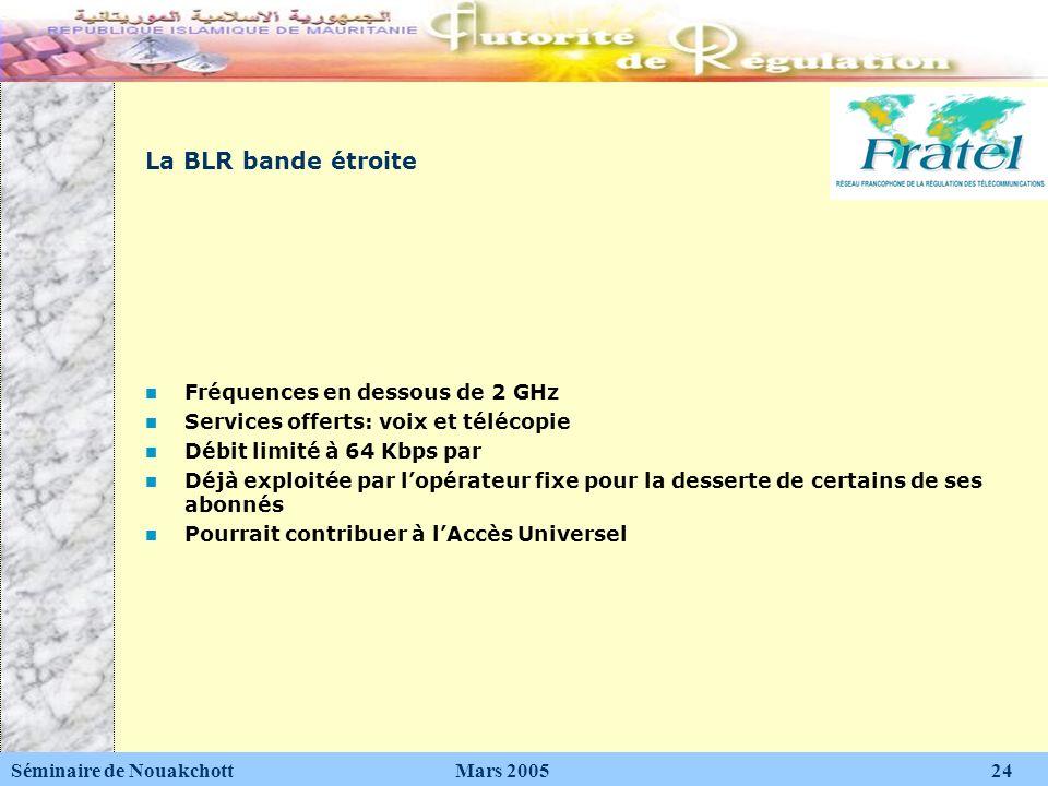 La BLR bande étroite Fréquences en dessous de 2 GHz Services offerts: voix et télécopie Débit limité à 64 Kbps par Déjà exploitée par lopérateur fixe