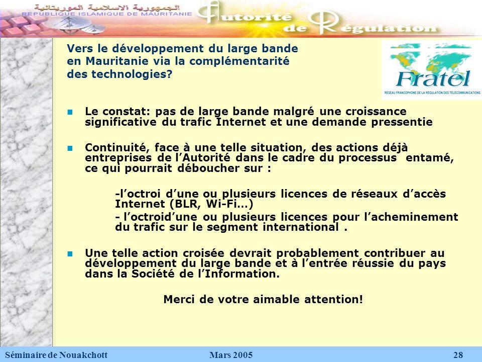Vers le développement du large bande en Mauritanie via la complémentarité des technologies? Le constat: pas de large bande malgré une croissance signi