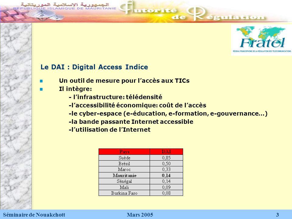 Le DAI : Digital Access Indice Séminaire de Nouakchott Mars 2005 3 Un outil de mesure pour laccès aux TICs Il intègre: - linfrastructure: télédensité