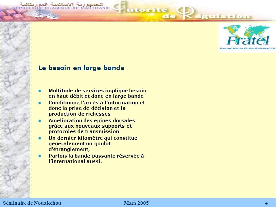 Les solutions asymétriques RADSL: Rate Adaptive DSL VDSL: very high DSL ADSL: Asymetric DSL qui est la technologie DSL la plus répandue Séminaire de Nouakchott Mars 2005 15